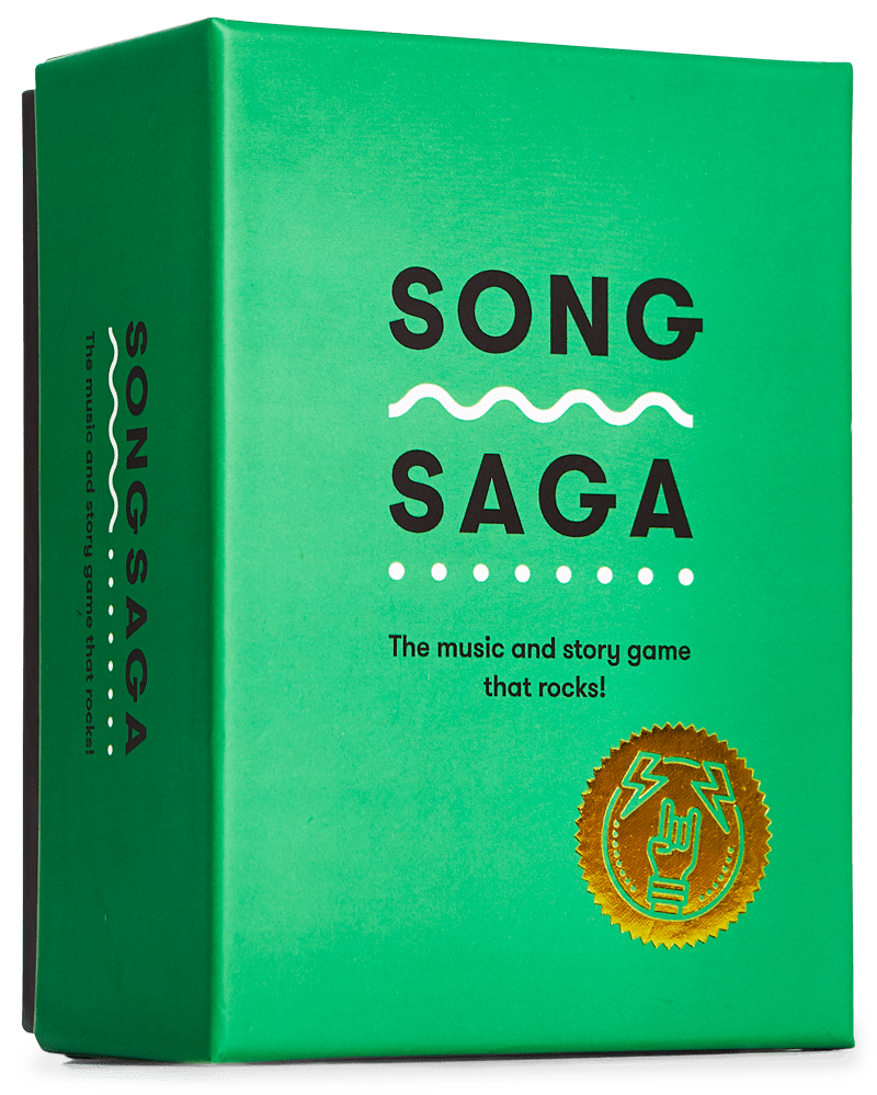 Song Saga Game, Music Game, Story Game, Party Game, Best Party Games, SongSaga, Green Box that Rocks, Card Game, Cards, You Rock Game, Conversation Starters Game, Spotify Game, Fun Party Game, Fun Party Game for Adults, Best Party Games, Best Party Games for Adults, Drinking Games, Games without Drinking,